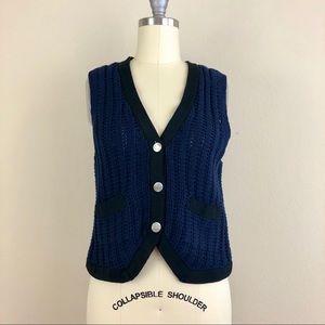 Phillip Lim Navy Open Knit Sweater Vest